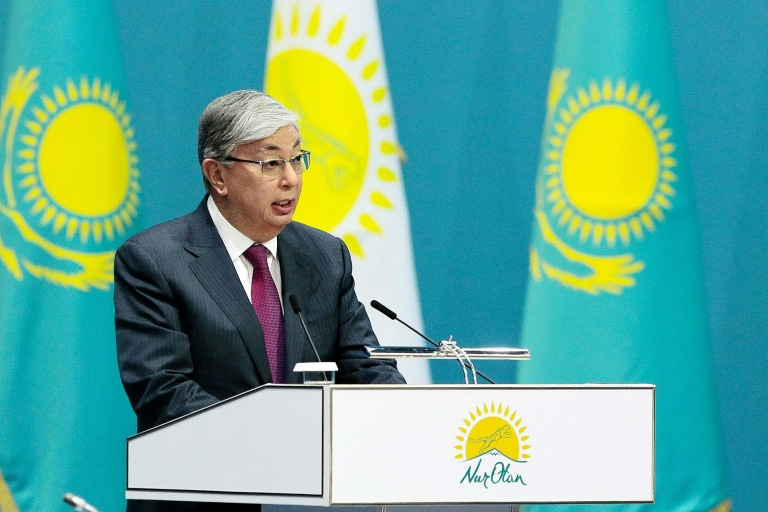 Loyalist Kassym-Jomart Tokayev took over from long-ruling strongman Nursultan Nazarbayev in March. He is expected to cruise to victory in a June 9 election / © AFP/File