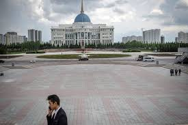 A view ofthe presidential palace in Nur-Sultan, Kazakhstan. PHOTO: JUSTYNA MIELNIKIEWICZ FOR THE WALL STREET JOURNAL