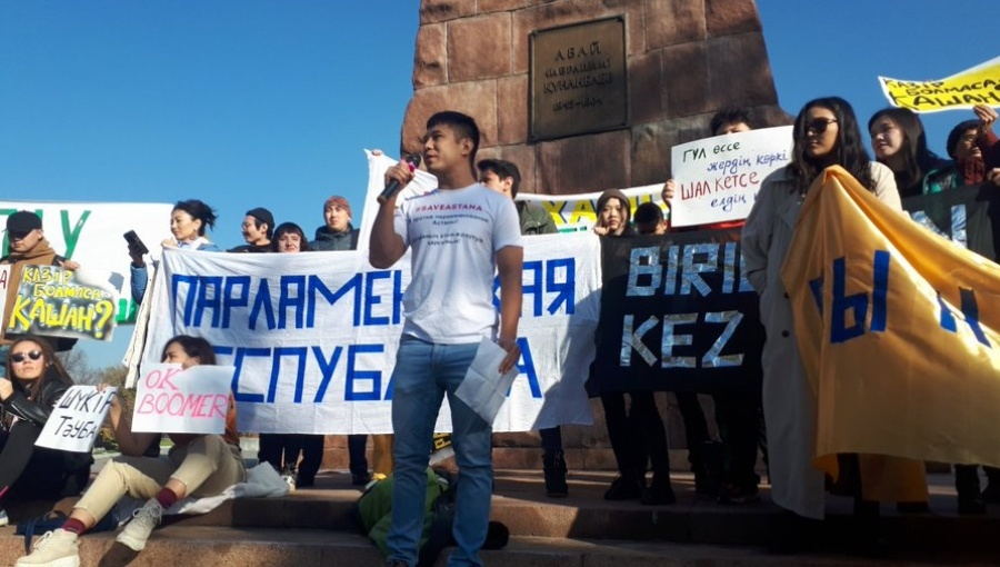 "#OyanQazaqstan (""Wake Up Kazakhstan"") pro-democracy protest in Almaty"