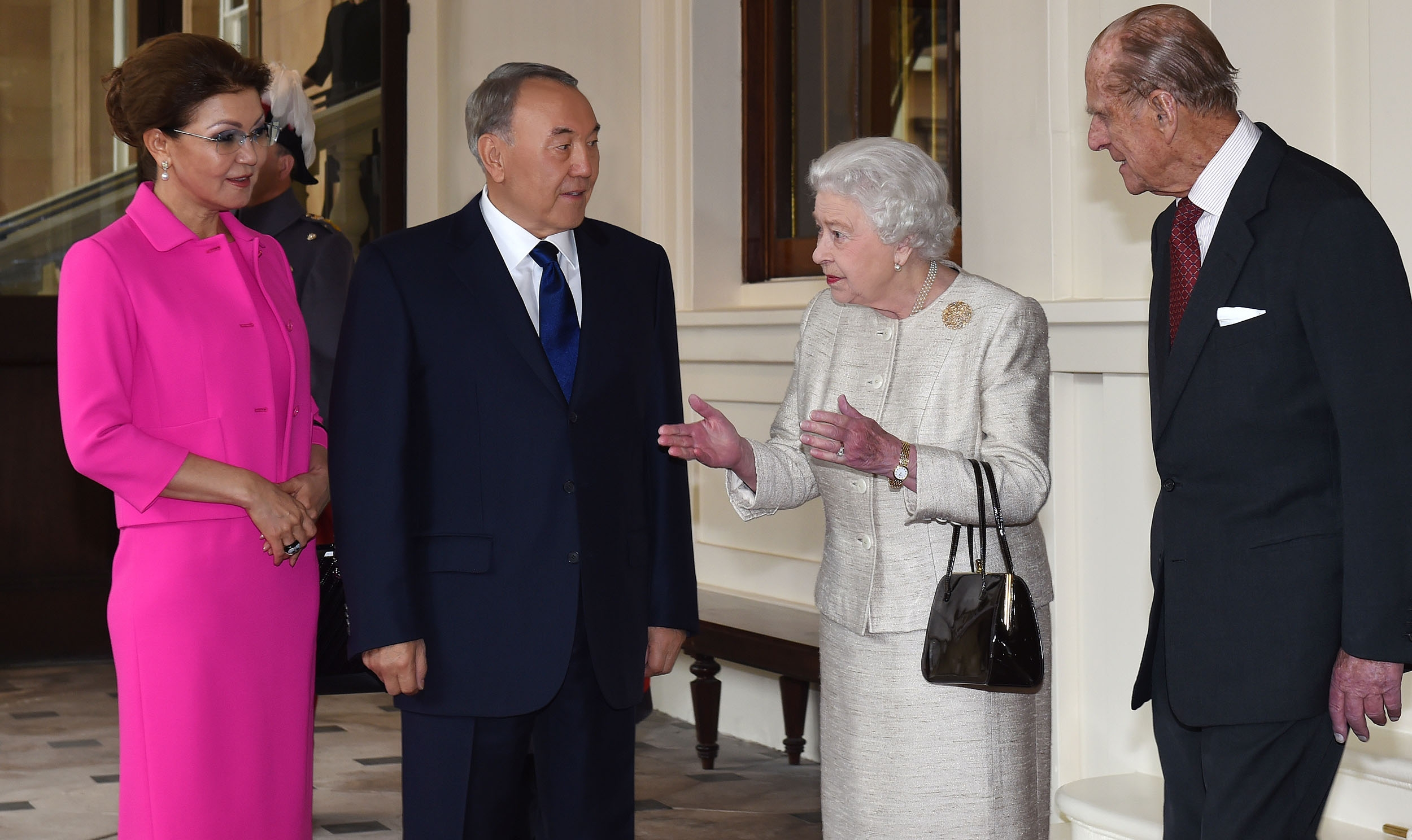Royal family Dariga Nazarbayeva left with her father former President Nursultan Nazarbayev meeting the queen during a trip to London in 2015jpg