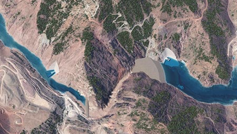 bneGeneric Tajikistan Rogun damn power electricity renewables ariel view