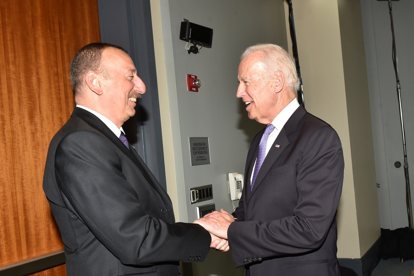 Azerbaijan President Ilham Aliyev meets with then-Vice President Joe Biden in 2016. (photo: president.az)